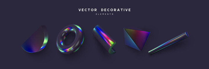 Fototapeta Set of 3d render primitives. Realistic 3d sphere, torus, cone, cube, tube. Glossy holographic geometric shapes isolated on dark background. Iridescent trendy design, thin film effect. Vector.