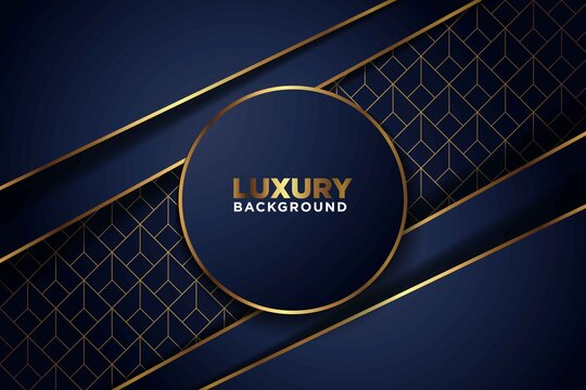 luxurious dark navy gold line overlap with circle and rectagle mesh pattern combination background. elegant modern futuristic technology background vector illustration