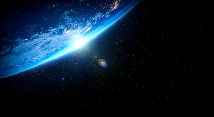 Planeet aarde wereldbol uitzicht vanuit de ruimte met realistisch aardoppervlak en wereldkaart zoals in het oogpunt van de ruimte. Elementen van dit beeld geleverd door NASA planeet aarde van ruimtefoto& 39 s.