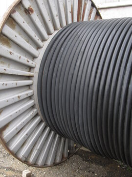 steel coil with black large section electric cable