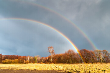 Fototapeta Wiosenna podwójna tęcza podczas deszczu