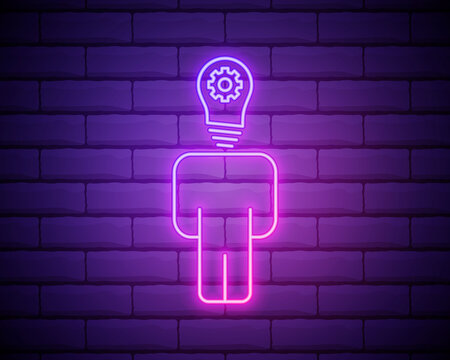 idea on mind icon.Person with lightbulb head neon icon. Elements of What is in your mind in neon style icons. Simple icon for websites, web design, mobile app, info graphics isolated on brick wall