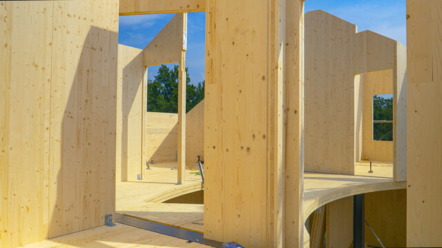 CLOSE UP: Beautiful hardwood real estate project is erected in the countryside.