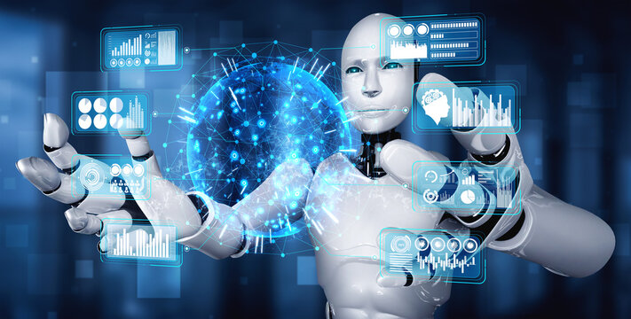 AI humanoid robot holding virtual hologram screen showing concept of big data analytic using artificial intelligence thinking by machine learning process. 3D illustration.
