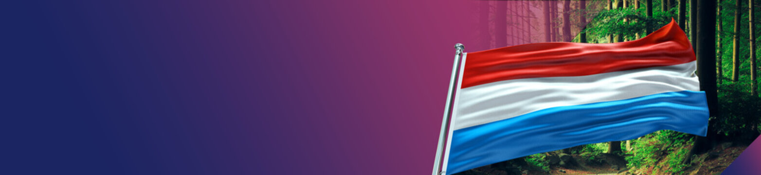 Luxemburg Flag with Forest and large Gradient Single Flag