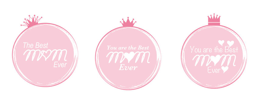 Mother's day concept emblem. Decorative pink round emblem design with The best mom texts and Crown. Mother's day illustration vector. 母の日イラスト、母の日ラベル、母の日デザイン素材