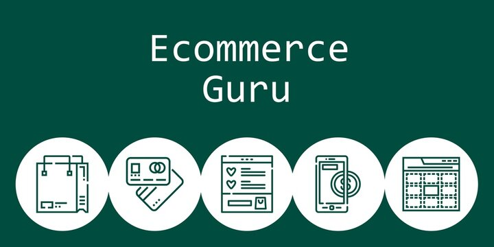 ecommerce guru background concept with ecommerce guru icons. Icons related shopping bag, debit card, web, wishlist, online payment