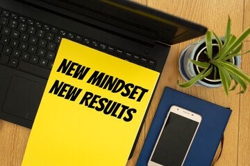 Text sign showing New Mindset New Results