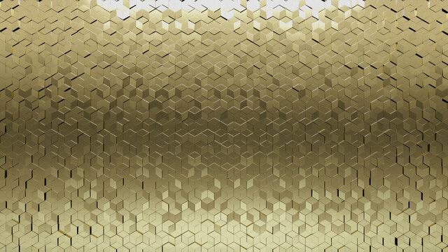 Glossy, 3D Mosaic Tiles arranged in the shape of a wall. Diamond shaped, Polished, Bullion stacked to create a Gold block background. 3D Render
