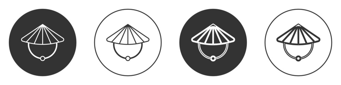 Black Asian or Chinese conical straw hat icon isolated on white background. Circle button. Vector