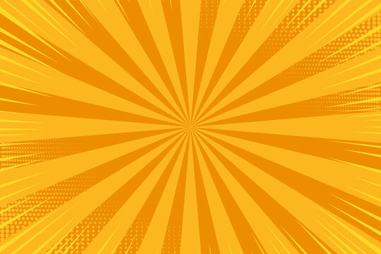 Pop art background. Comic pattern with starburst and halftone. Cartoon retro sunburst effect. Orange banner with dots. Vintage sunshine texture. Vector illustration. Superhero starburst print.