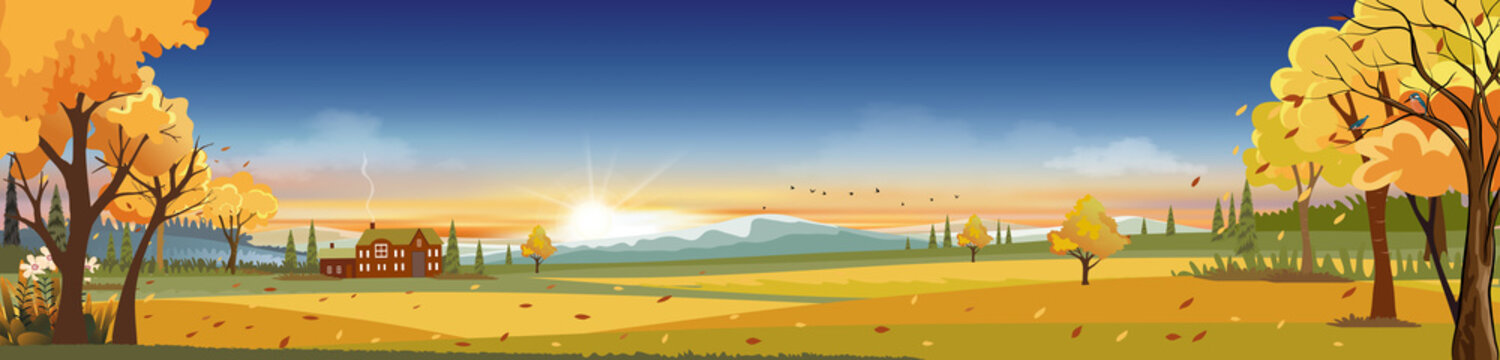 Fantasy landscapes Countryside with sunset in Autumn,Vector wonderland mid autumn with farm field, mountains and leaves falling from trees in yellow foliage in evening sky. Fairytale in fall season