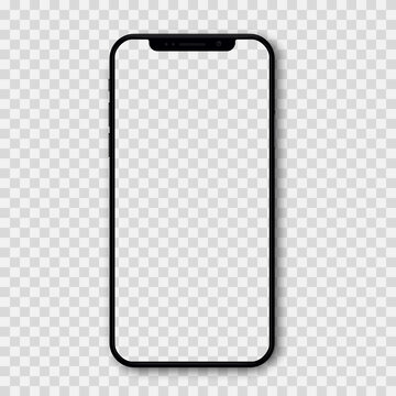 Kiev, Ukraine - April 25, 2021: Apple iPhone 12 Pro or Pro Max in graphite color. Mock-up screen front view iphone with empty transparent screen phone and shadow. Editorial vector
