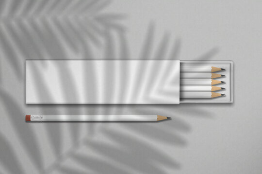 Pencil box mockup on a white background. 3D render