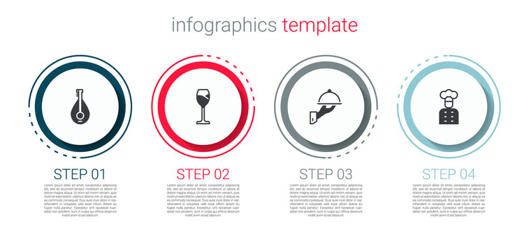 Set Mandolin, Wine glass, Covered with tray of food and Italian cook. Business infographic template. Vector