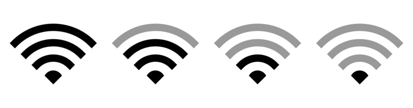 Set of wi-fi wireless icon with visualization signal quality. Remote access and radio waves communication symbols. Vector illustration EPS10