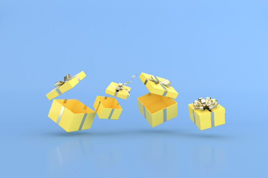 3D rendering of floating yellow gift boxes and balloons.