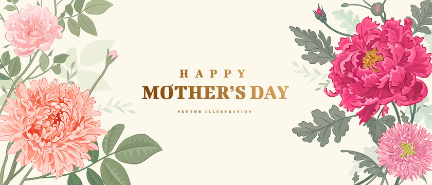 Mother's day poster or banner with hand drawn flowers on light background. Vector illustration