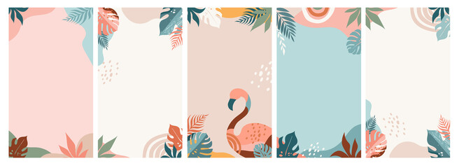 Bohemian Summer, set of modern summer story template designs with rainbow, flamingo, pineapple, ice cream and watermelon