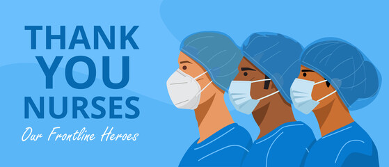 International Nurses Day, Illustration of nurses with face masks and protective caps. Vector