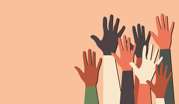 International Youth Day. Voting in elections. Fight for equal rights. Silhouettes of hands of guys and girls of different nationalities and religions. Festive poster in pink colors.