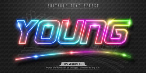 Fototapeta Young text, neon style editable text effect obraz