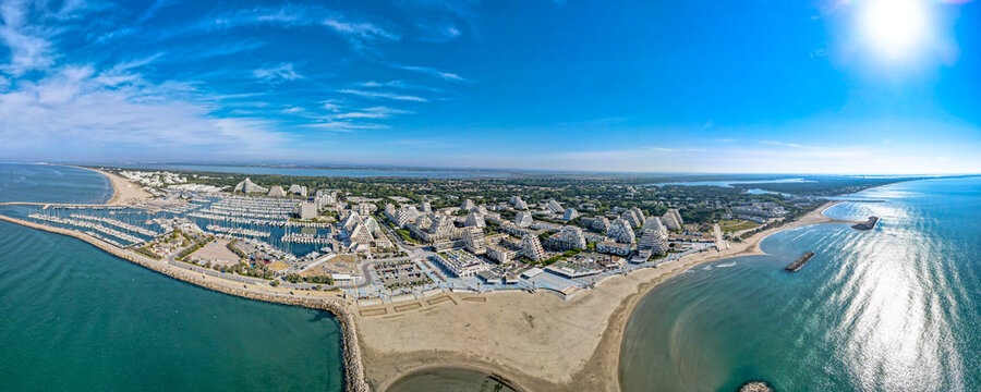 Aerial panoramic drone city scape from above La Grande Motte France