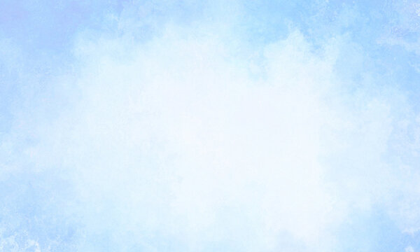 Light soft blue sky background, abstract realistic spring blue paper with soft white fluffy cloudswith white empty space in the center