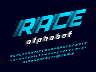 Obraz Speed style alphabet design with uppercase, lowercase, numbers and symbol - fototapety do salonu