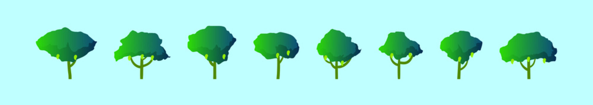 set of mangrove cartoon icon design template with various models. vector illustration isolated on blue background
