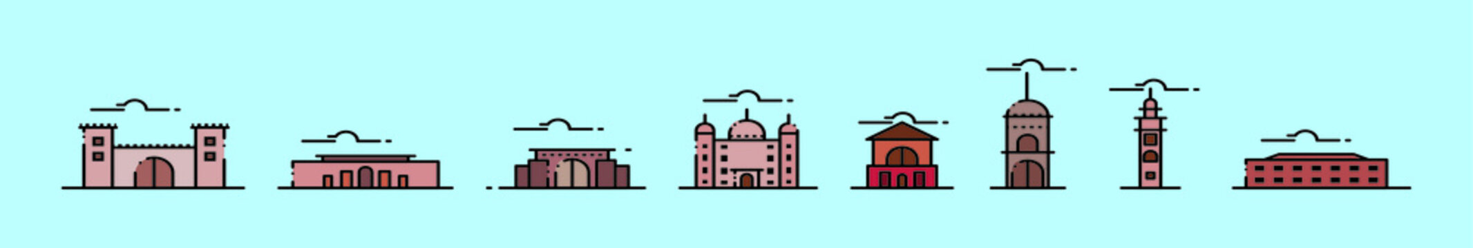 set of landmark cartoon icon design template with various models. vector illustration isolated on blue background