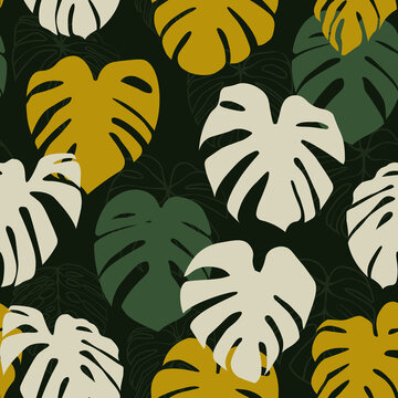 Monstera Deliciosa Leaf with Abstract Shape Seamless Pattern. Perfect for Textile, Fabric, Background, Print