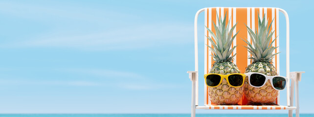 Fototapeta Tropical beach, hipster pineapples on chair with sky background. 3d rendering obraz