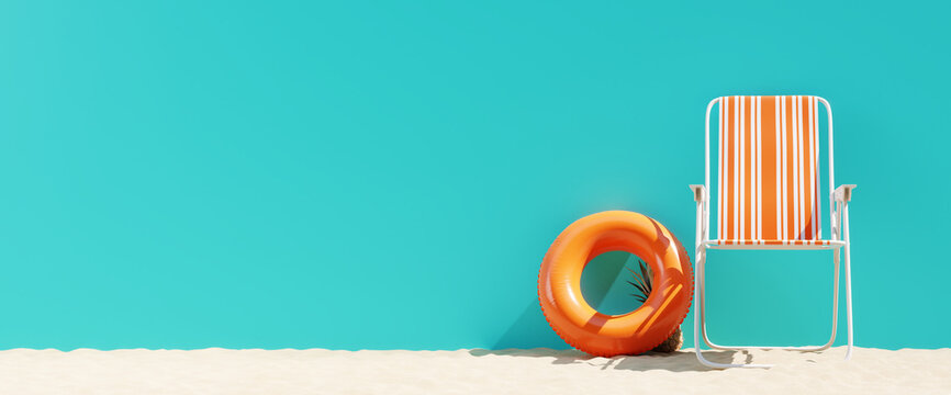 Summer beach concept, chair with ring floating and pineapple on blue background. 3d rendering