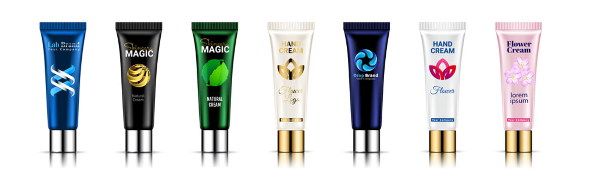 Cosmetic scrub bottles and smears set. Tube package design Realistic 3d vector illustration. Beauty cosmetics peeling product for face care with cream or gel brush strokes isolated white background.