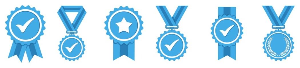 Fototapeta Blue Approval icon set, certified medal symbol, Approved quality sign, vector illustration