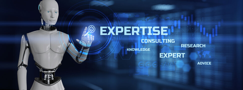 Expertise concept. Robot pressing button on screen 3d render