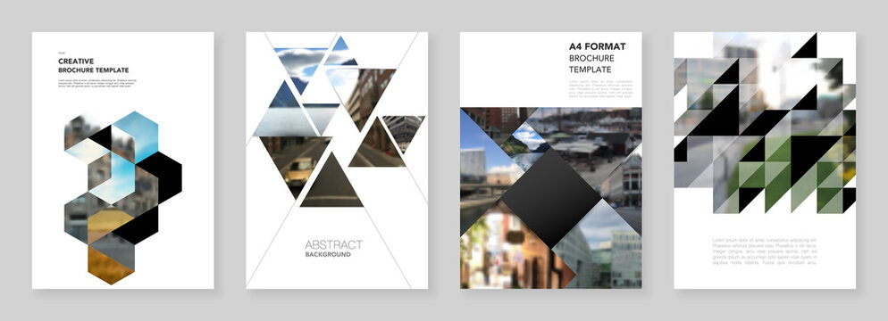 A4 brochure layout of covers design template with triangles, triangular pattern for flyer leaflet, A4 brochure design, report, presentation, magazine cover, book design.Background with place for photo
