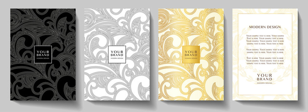 Luxury gold curve (scroll) pattern cover, frame design set. Elegant floral ornament on golden, black background. Premium vector collection for rich brochure, luxe invite, royal wedding template or men
