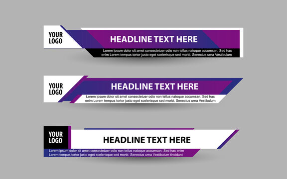 Set collection vector of Broadcast News Lower Thirds Template layout design banner for bar Headline news title, sport game in Television, Video and Media