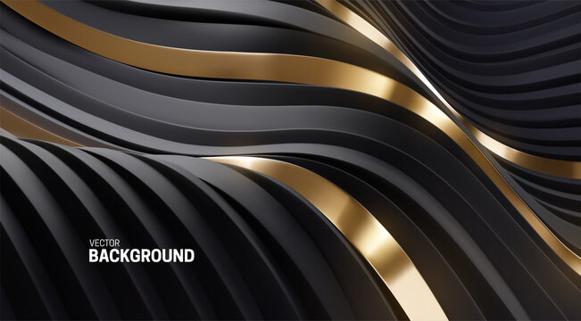 Black and golden abstract background. Soft elastic shape backdrop.