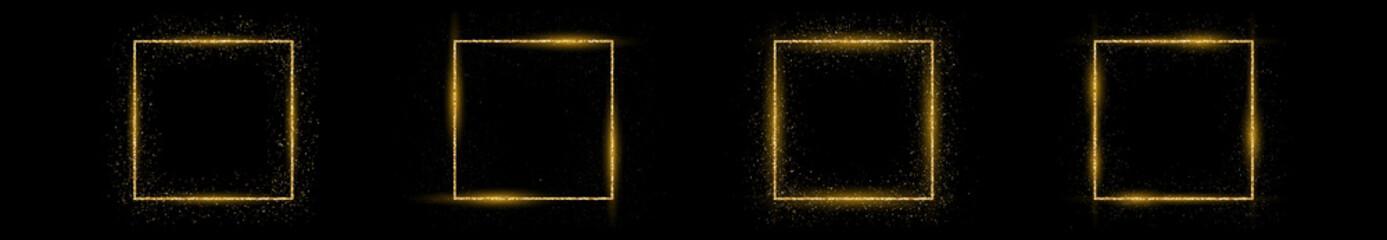 Fototapeta Golden square frame with glitter