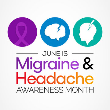 National Migraine and headache awareness month is observed every year in June. it is usually a moderate or severe headache felt as a throbbing pain on one side of the head. Vector illustration.