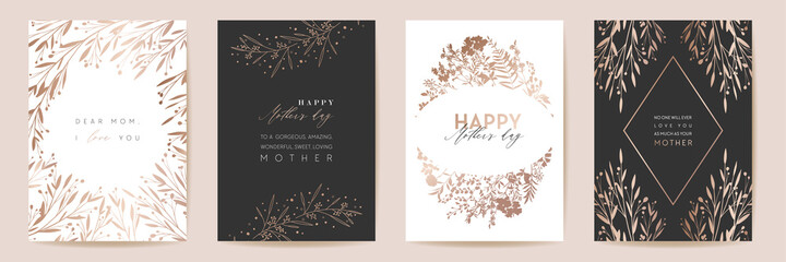 Mothers day golden luxury vector greeting set. Floral foliage design for Mother party, woman spring card