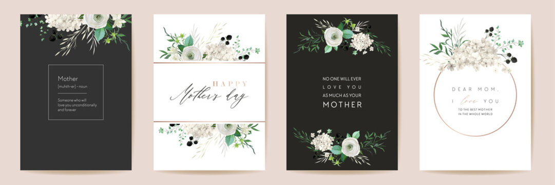 Mothers day classic floral greetings. Vector Watercolor flowers frame set. Spring flower design for Mother party