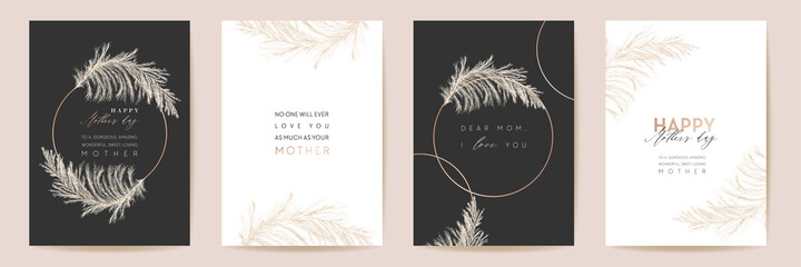 Obraz Mothers day luxury floral greeting set. Vector foliage design for Mother party. Watercolor pampas grass template - fototapety do salonu