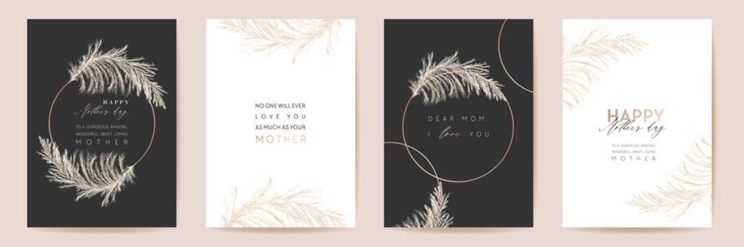 Mothers day luxury floral greeting set. Vector foliage design for Mother party. Watercolor pampas grass template