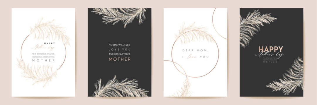 Mothers day luxury floral greeting set. Watercolor pampas grass template. Vector foliage design for Mother party