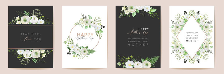 Fototapeta Mothers day beautiful floral cards. Watercolor flowers frame vector set. Spring flower design for Mother party