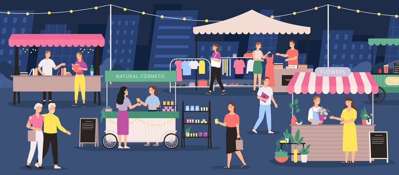 Night market. People on summer outdoor fair. Street festival store, stall, flower, clothes and craft cosmetic shop. City event vector banner